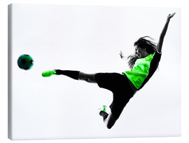 Canvas  Female Footballer jumping