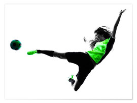 Premium poster  Female Footballer jumping