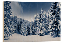 Wood print  Winter landscape with snow covered trees