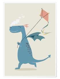 Premium poster Dragon flies a kite