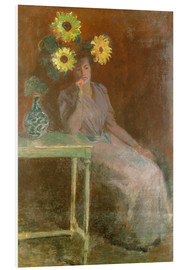 Foam board print  Sedentary woman next to a vase with sunflowers - Claude Monet