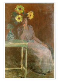 Premium poster  Sedentary woman next to a vase with sunflowers - Claude Monet