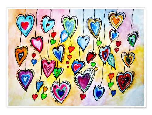 Premium poster Awesome Colorful Hearts