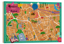 Wood print  Colorful city map Hanover - Elisandra Sevenstar