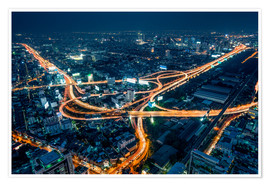 Premium poster  Aerial view of Bangkok at night - Jan Christopher Becke