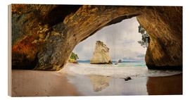 Wood print  Cathedral Cove - New Zealand - Michael Rucker
