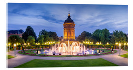 Acrylic print  Mannheim water tower and rose garden at night - Jan Christopher Becke