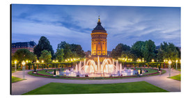 Aluminium print  Mannheim water tower and rose garden at night - Jan Christopher Becke