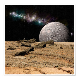 Premium poster A moon rises over a rocky and barren alien landscape.