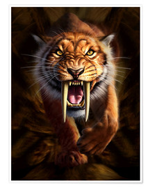Premium poster  Full on view of a Saber-toothed Tiger - Jerry LoFaro