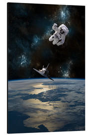 Aluminium print  An Astronaut Drifting into Space - Marc Ward