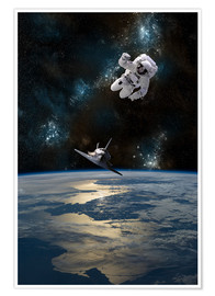 Premium poster An Astronaut Drifting into Space