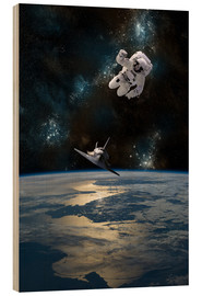 Wood print  An Astronaut Drifting into Space - Marc Ward