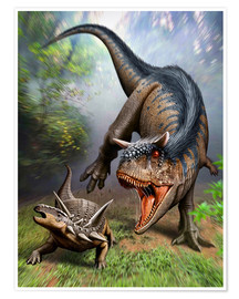 Premium poster  Carnotaurus attacking at Antarctopelta armored dinosaur