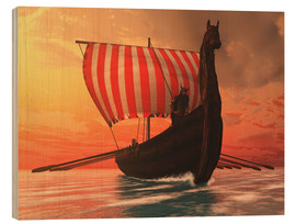 Wood print  A Viking longboat sails to new shores - Corey Ford