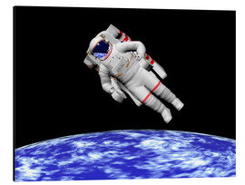 Aluminium print  Astronaut floating in outer space above planet Earth - Elena Duvernay