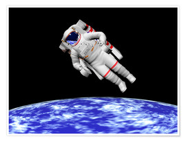 Premium poster  Astronaut floating in outer space above planet Earth - Elena Duvernay