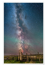 Premium poster Milky Way over an old ranch corral.