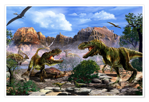 Premium poster Two T-Rex dinosaurs fighting over a dead carcass