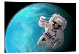 Acrylic print  Artist's concept of an astronaut floating in outer space by a water covered planet. - Marc Ward