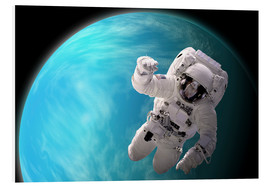 Foam board print  Artist's concept of an astronaut floating in outer space by a water covered planet. - Marc Ward
