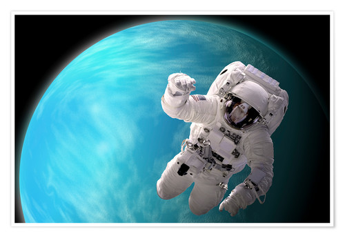 Artist's concept of an astronaut floating in outer space by a ...