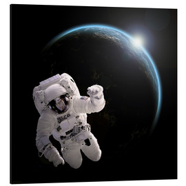 Aluminium print  Astronaut floating in space as the sun rises on to Earth-like planet. - Marc Ward