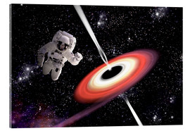 Acrylic print  Artist's concept of an astronaut falling towards a black hole in outer space. - Marc Ward