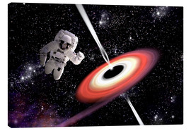 Canvas print  Artist's concept of an astronaut falling towards a black hole in outer space. - Marc Ward