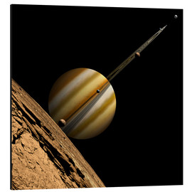 Aluminium print  An artist's depiction of a ringed gas giant planet with six moons. - Marc Ward