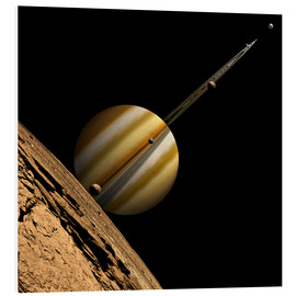 Foam board print  An artist's depiction of a ringed gas giant planet with six moons. - Marc Ward