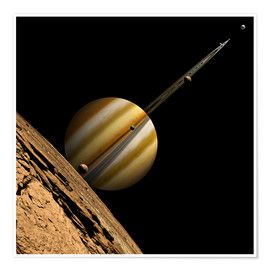 Premium poster  An artist's depiction of a ringed gas giant planet with six moons. - Marc Ward