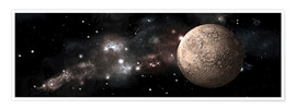 Premium poster A heavily cratered moon alone in deep space.