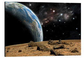 Aluminium print  An Earth-like planet rises over a rocky and barren alien world. - Marc Ward