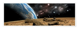 Premium poster  An Earth-like planet rises over a rocky and barren alien world. - Marc Ward