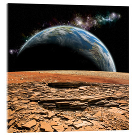 Acrylic print  An Earth-like planet rises over a rocky and barren alien moon. - Marc Ward