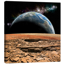 Canvas print  An Earth-like planet rises over a rocky and barren alien moon. - Marc Ward