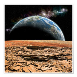 Premium poster An Earth-like planet rises over a rocky and barren alien moon.