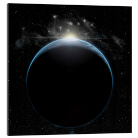 Acrylic print  Artist's depiction of a star breaking the horizon of an Earth-like planet. - Marc Ward