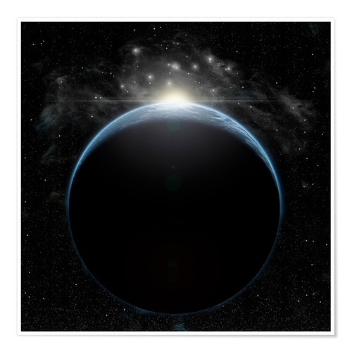 Premium poster Artist's depiction of a star breaking the horizon of an Earth-like planet.
