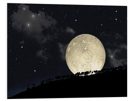 Foam board print  A full moon rising behind a row of hilltop trees. - Marc Ward