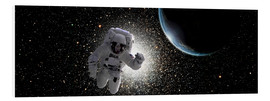 Foam board print  Astronaut floating in deep space with an Earth-like planet in background. - Marc Ward