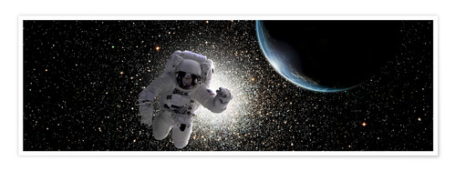Premium poster Astronaut floating in deep space with an Earth-like planet in background.