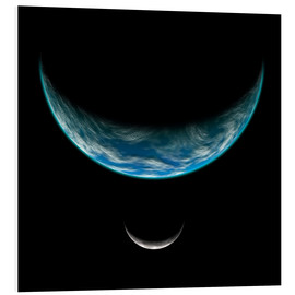 Foam board print  Artist's depiction of an Earth-like planet with an orbiting moon. - Marc Ward
