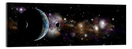 Acrylic print  An Earth-like planet with a pair of moons in orbit. - Marc Ward
