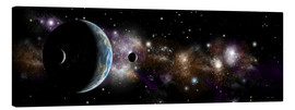 Canvas print  An Earth-like planet with a pair of moons in orbit. - Marc Ward