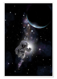 Premium poster Artist's concept of an astronaut floating in outer space.