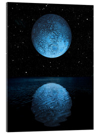 Acrylic print  A blue moon rising over a calm alien ocean with a starry sky as a backdrop. - Marc Ward
