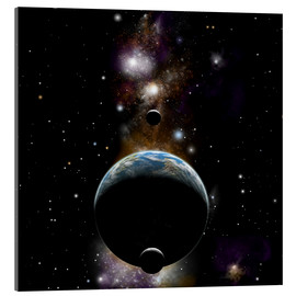 Acrylic print  An Earth type world with two moons against a background of nebula and stars. - Marc Ward
