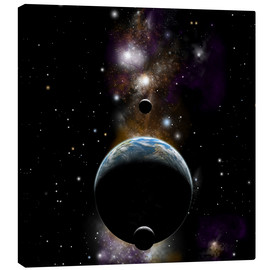 Canvas print  An Earth type world with two moons against a background of nebula and stars. - Marc Ward